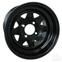 Wheel RHOX Steel, Black 8 Spoke 12x7.5, 3 to 4.5 offset