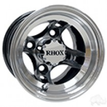 RHOX Brickyard, Machined with Black 8x7, ET-27, 4 spoke Aluminum Wheel